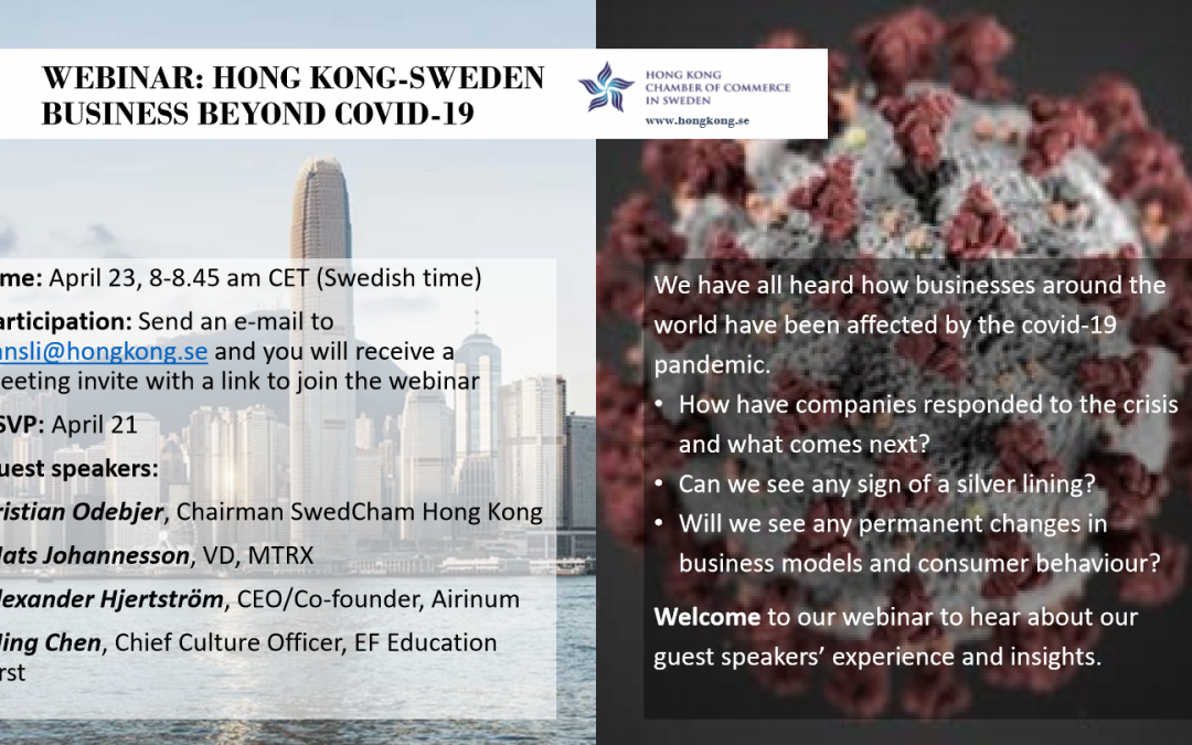 Webinar April 23, 8-8.45 CET: HK-Sweden Business Beyond Covid-19